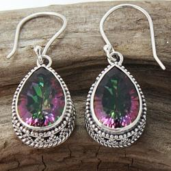 Sterling Silver Pear Drop Exotic Fire Quartz Bali Earrings (Indonesia)