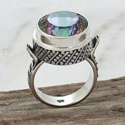 Sterling Silver Round Exotic Fire Quartz Detailed Band Ring (Indonesia)