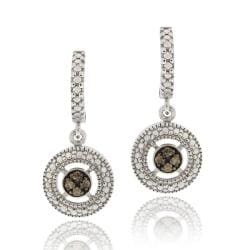 DB Designs Sterling Silver 1/10ct TDW Brown Diamond Dangle Earrings