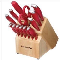 KitchenAid 16-piece Stamped Derlin Knife Set with Red Handles