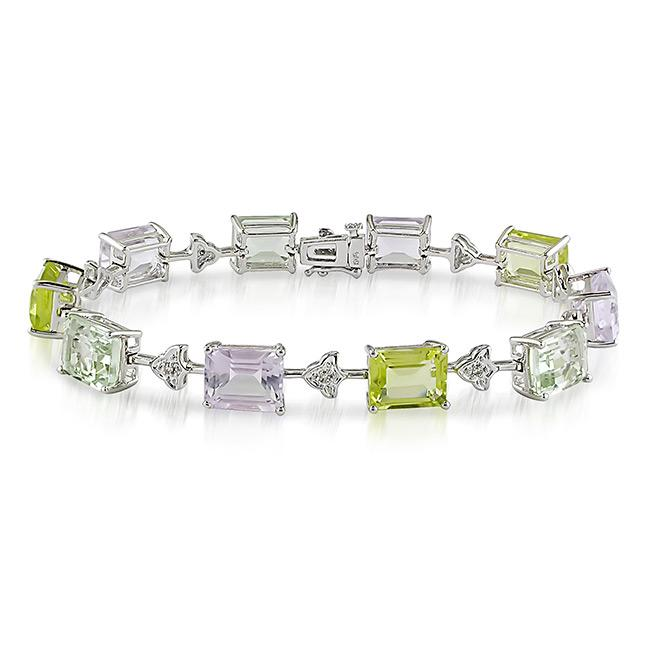 Miadora 14k White Gold Multi-gemstone and Diamond Tennis Bracelet