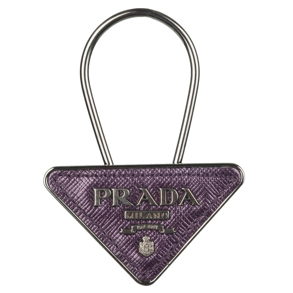Prada Leather Triangle Logo Key Ring