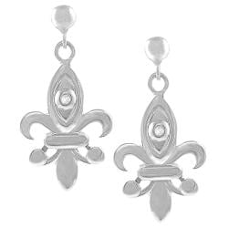 Sterling Silver Diamond Chip Fleur de Lis Earrings