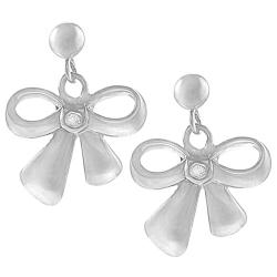 Sterling Silver Diamond Chip Bow Earrings