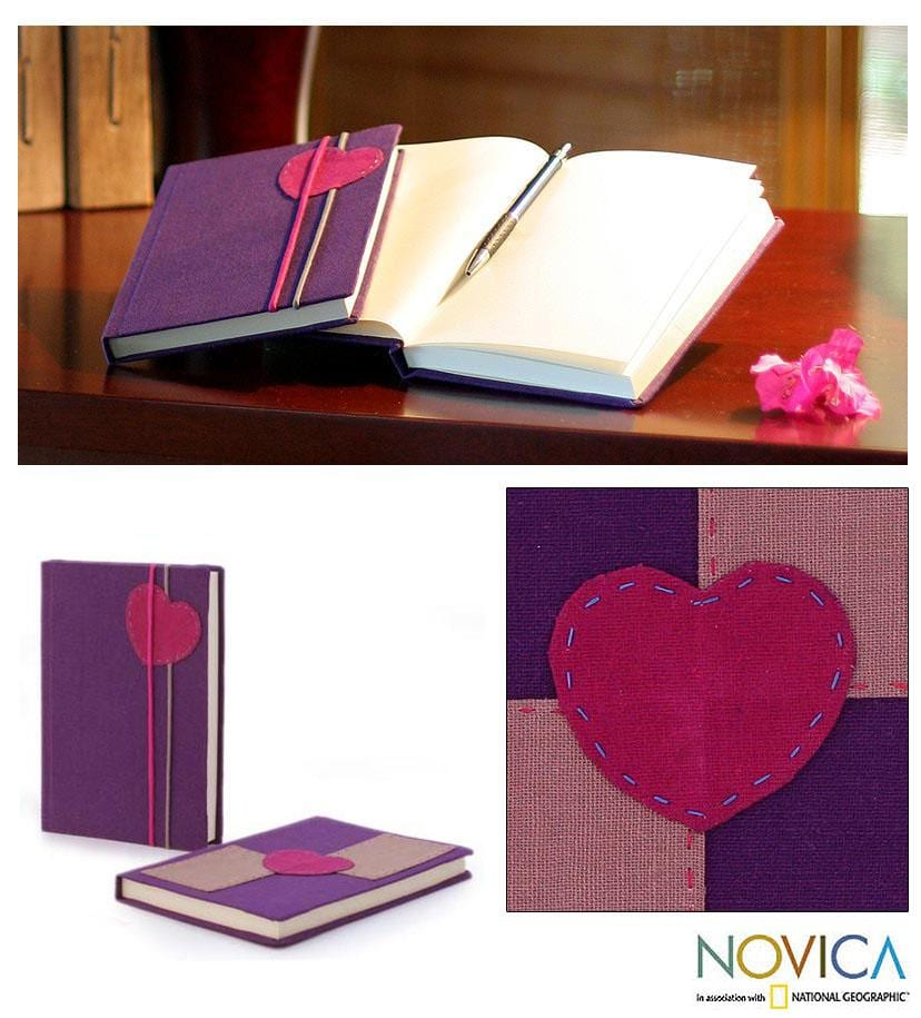 Set of 2 Handcrafted Paper 'Pink Love Notes' Journals (Thailand)