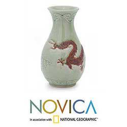 Ceramic 'Dragon Mystery' Celadon Vase (Thailand)