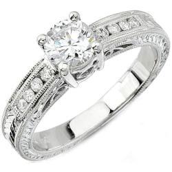Victoria Kay 14k Gold 1/8ct TDW Designer Diamond and CZ Engagement Ring (H, SI1)