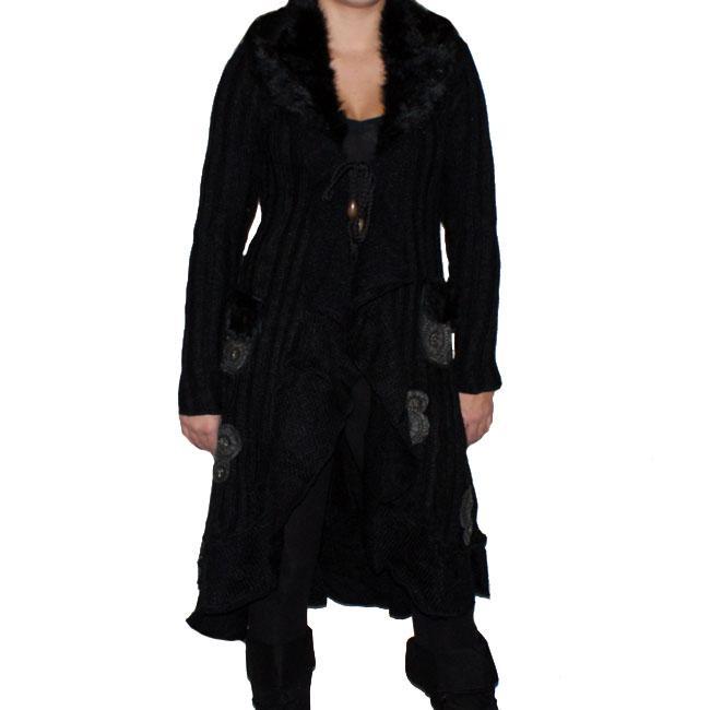 Forla Paris Women's Black Faux Fur Long Sweater