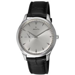 Zenith Men's 'Elite Ultra Thin' Silver Dial Leather Strap Watch