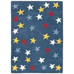 Handmade Novelty Stars Blue Wool Rug (2' x 3')