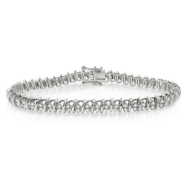 Miadora Sterling Silver 1 7/8ct TDW Diamond Tennis Bracelet (G-H, SI1-SI2)