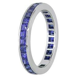 Miadora 14k White Gold Sapphire Full Eternity Ring