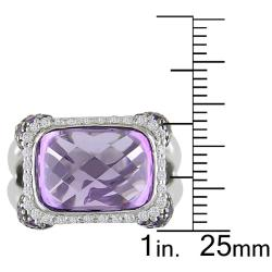Miadora 14k Gold Amethyst and 1/3ct TDW Diamond Fashion Ring (G-H, SI1-SI2)