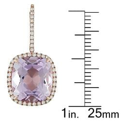 Miadora 18k Pink Gold Amethyst and 1/2ct TDW Diamond Earrings (G-H, SI1-SI2)