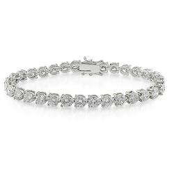 Miadora 18k White Gold 13 7/8ct TDW Diamond Tennis Bracelet (G-H, I1-I2)