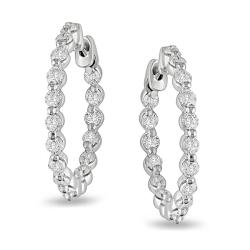 14k White Gold 1 7/8ct TDW Diamond Hoop Earrings (G-H, SI1-SI2) by Miadora Signature Collection
