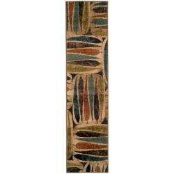 Indoor Beige Abstract Rug (1'10 x 7'6)