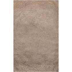 Handmade Nirmal Brown Shag Rug (5' x 7'6)