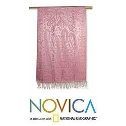 Jamawar Silk 'Paisley Pink' Shawl (India)