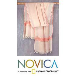 Wool 'Rose Garland' Shawl (India)