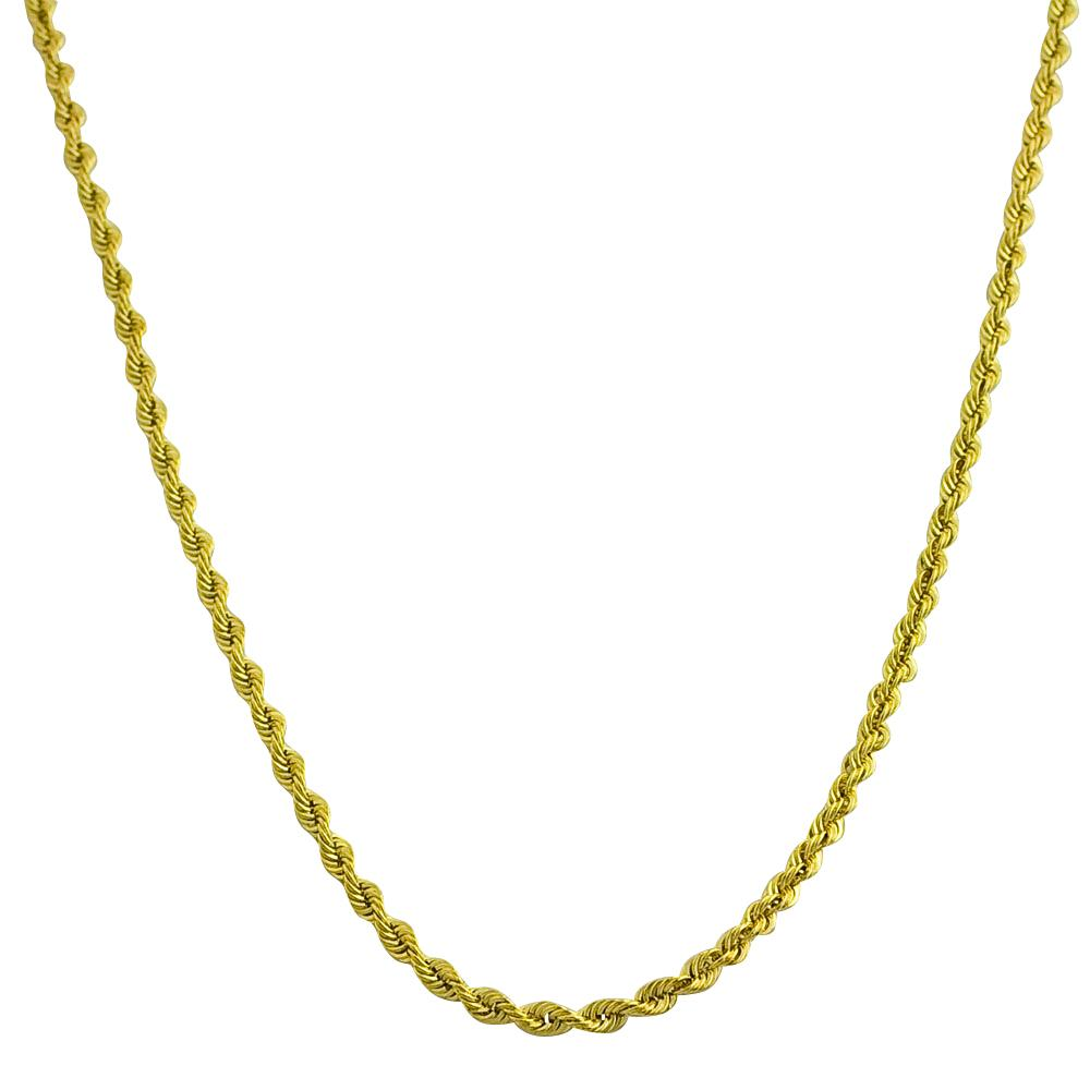 10k Yellow Gold 18-inch Diamond-cut Rope Necklace