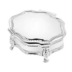 Classic Silver-plated Engraveable Black-velvet-lined Jewelry Box
