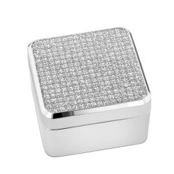 Glitter-top Square Silvertone Nickel Velvet-lined Jewelry Box