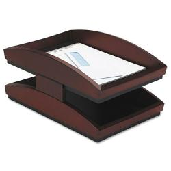 Rolodex Executive Woodline II Two-tiered Desk Mahogany-finish Tray