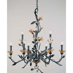 Amber Mist Blacksmith Bronze 9-light Chandelier