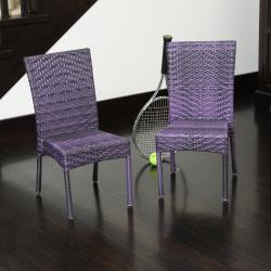 Children's All-weather Purple Wicker Chairs (Set of 2)