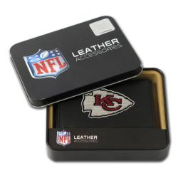 Kansas City Chiefs Men's Black Leather Tri-fold Wallet