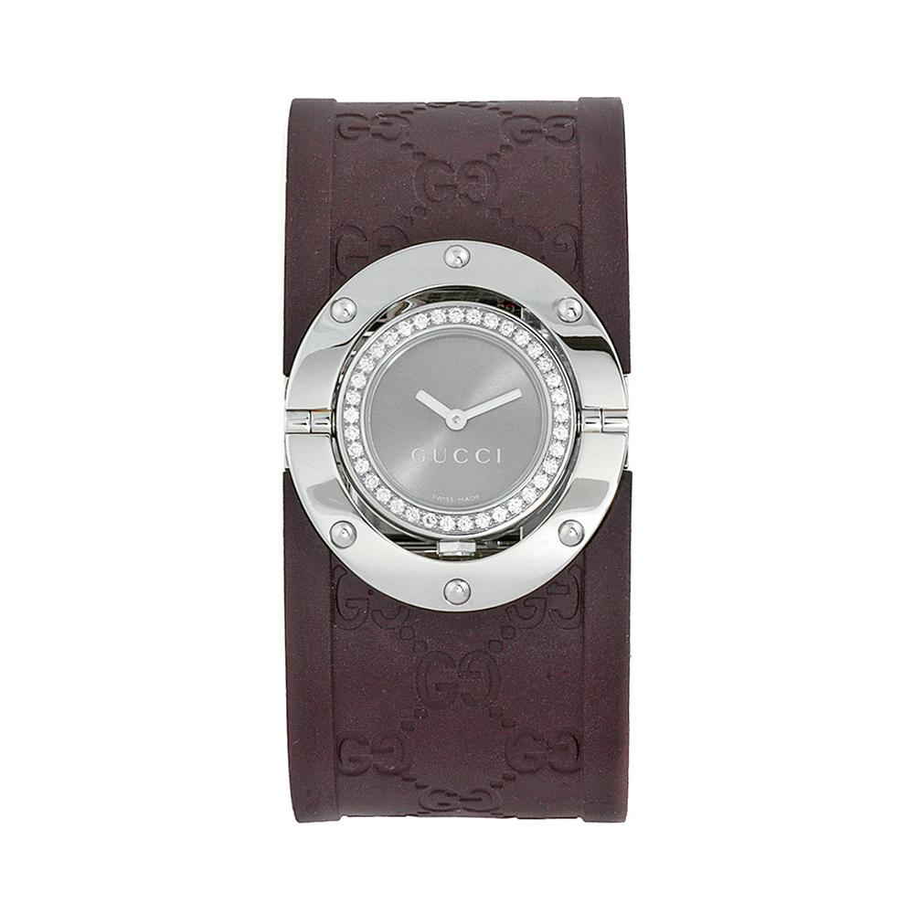 Gucci Women's Twirl Brown Rubber Strap Diamond-accented Watch