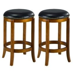 Jackson Bicast Leather Dark Oak Counter Stools (Set of 2)