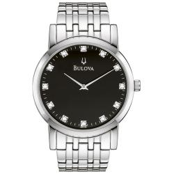 Bulova Men's 96D106 Silver Stainless-Steel Quartz Watch with Black Dial