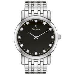 Bulova Men's 96D106 Silver Stainless-Steel Quartz Watch with Black Dial