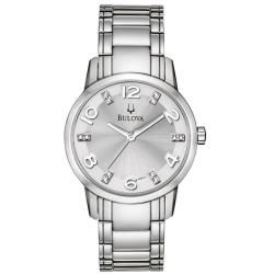 Bulova Women's Stainless Steel 12-diamond Dial Watch