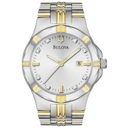Bulova Men's Two Tone Stainless Steel 8 Diamond Dial Watch