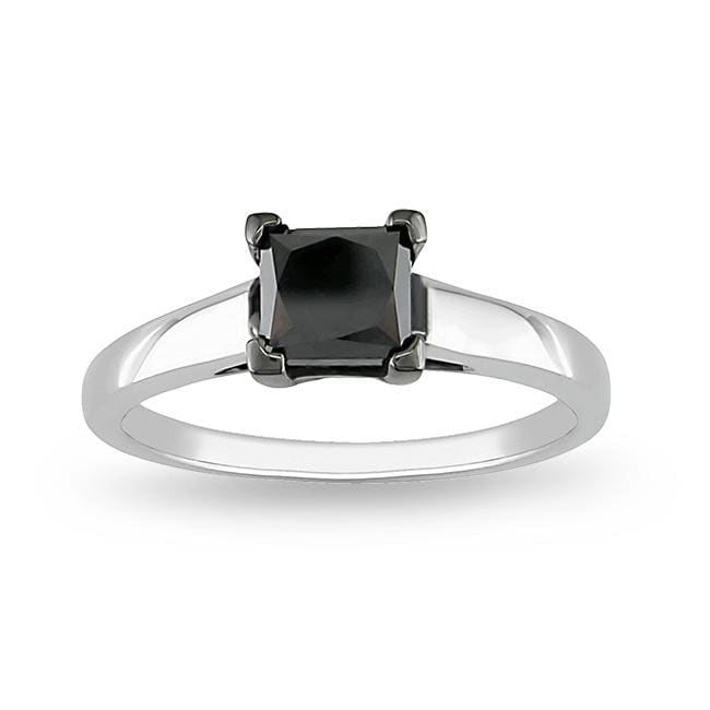 Miadora Sterling Silver 1ct TDW Black Diamond Engagement-style Ring