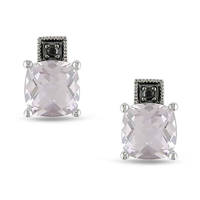 10K White Gold 0.02 CT TDW Black Diamond and Rose de France Earrings