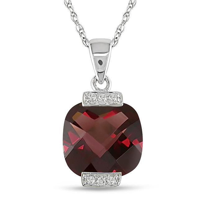 10k White Gold Diamond and Garnet Pendant