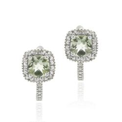 Glitzy Rocks Sterling Silver Green Amethyst and Diamond Accent Square Earrings