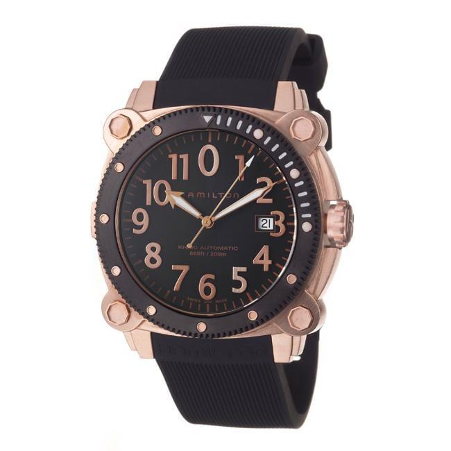 Hamilton Men's 'Khaki Navy' Goldtone Steel and Rubber Automatic Watch