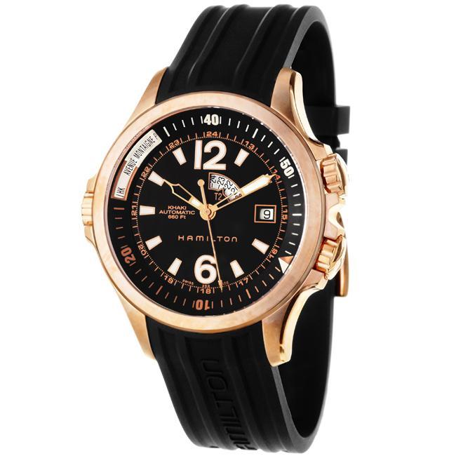 Hamilton Men's 'Khaki Navy' Rose Goldtone Steel Automatic Watch