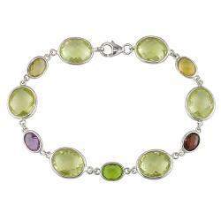 Miadora New York Gems Sterling Silver Multi-gemstone Fashion Bracelet