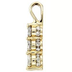 14k Yellow Gold 1ct TDW Diamond 3-stone Necklace (I-J, I2-I3)