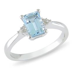 Miadora Sterling Silver Blue Topaz and Diamond Accent Ring