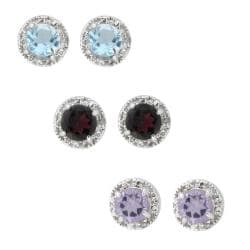 Dolce Giavonna Sterling Silver Amethyst, Blue Topaz, Garnet and Diamond Earring Set