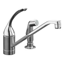 "Kohler K-15176-TL-CP Polished Chrome Coralais Single-Control Kitchen Sink Faucet With 10"" Spout, Color-Matched Sprayhead, Ground"