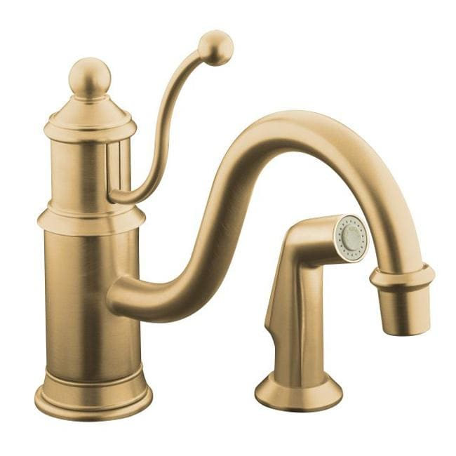Kohler K-169-BV Vibrant Brushed Bronze Antique Single-Control Kitchen Sink Faucet With Color-Matched Sidespray