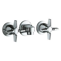 Kohler K-8046-3A-CP Polished Chrome Triton Shelf-Back Lavatory Faucet With Grid Drain And Cross Handles